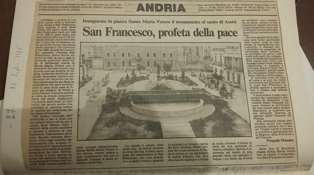 Articolo Inaugurazione piazza Santa Maria Vetere -Gazzetta del Mezzogiorno