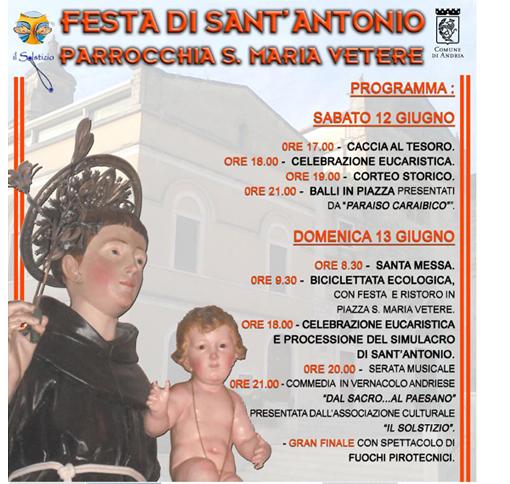 Locandina Festa Sant'Antonio 2010 Santa Maria Vetere Andria
