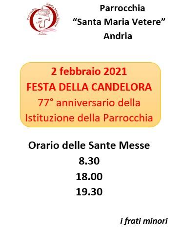 Orario Celebrazioni nella Festa della Candelora 2021 Parrocchia Santa Maria Vetere Andria