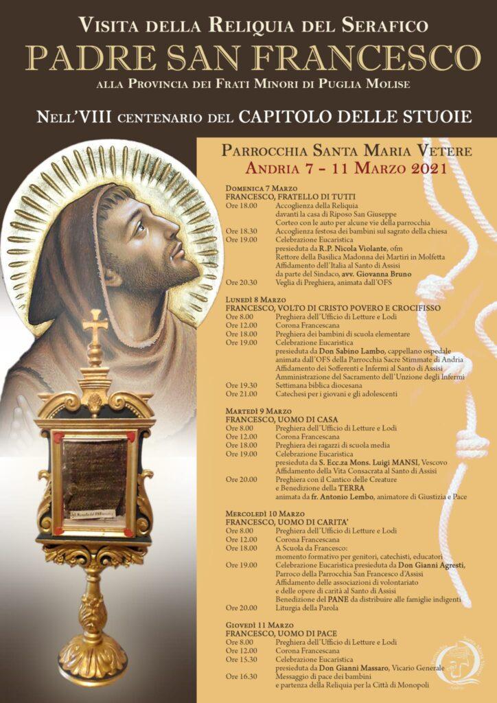 La visita della reliquia del santo di Assisi presso la chiesa di santa maria vetere Andria