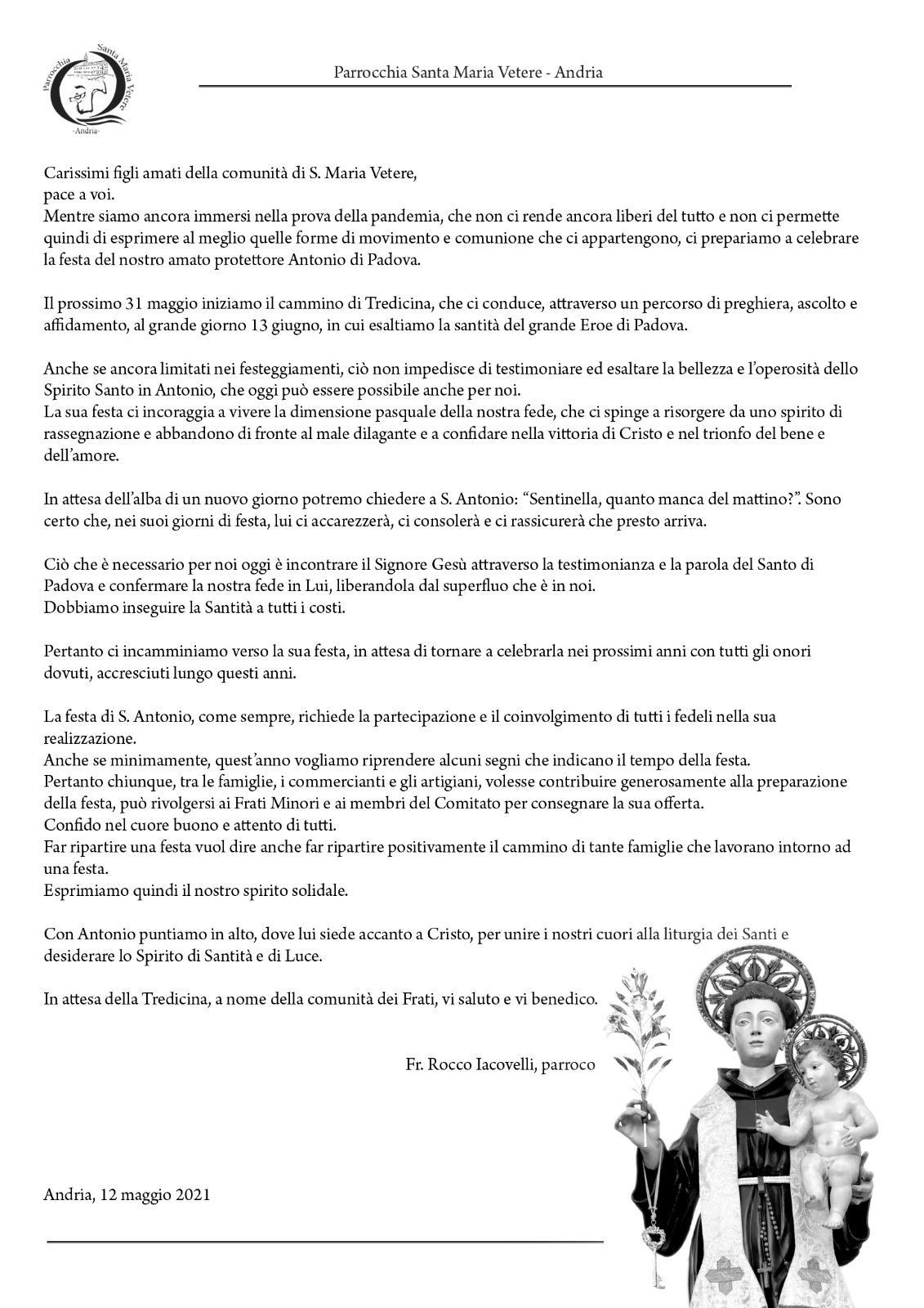Lettera ai parrocchiani