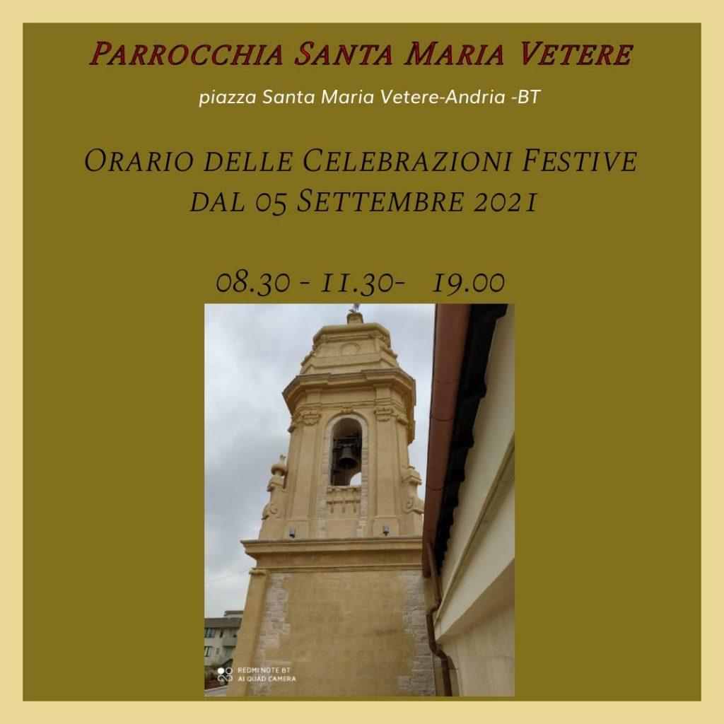 Orari Settembre 2021 Messe Festive Santa Maria Vetere Andria